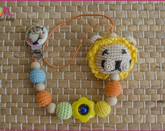 Pacifier Holder with crochet lion.