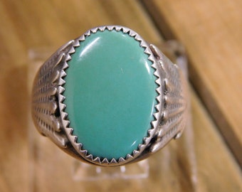 Turquoise Silver Ring Size: 11 3/4
