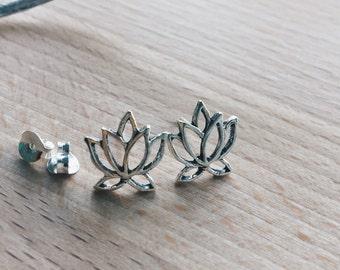 Sterling silver lotus ear studs, Silver lotus studs, Lotus earrings, Dainty lotus leaf ear studs (ES167)