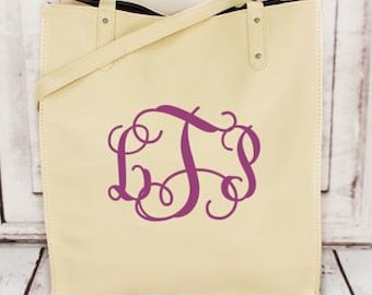 Cream Faux Leather Tall Tote