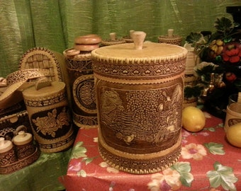 "Birch bark kitchen canisters, large storage box ""man and bear"""