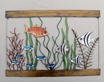 Metal fish aquarium Wall Sculpture