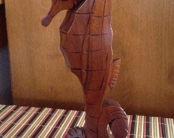 Vintage John Oya Hand Carved Milo Wood Seahorse Perfume Bottle - 1940's