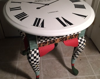 Eclectic Clock Face Side Table