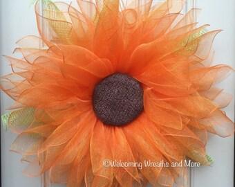 Orange Sunflower Wreath, Deco Mesh Sunflower Wreath, Fall Wreath, Flower Wreath, Sunflower Door Wreath