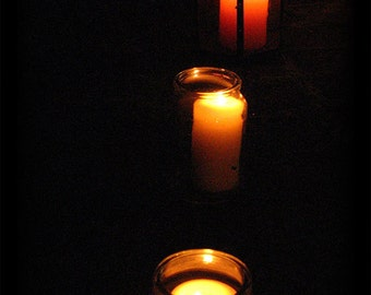 Samhain Candles - creepy atmospheric autumnal night time photograph
