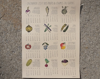 2017 Wall Calendar Fruits and Vegetables of Quebec