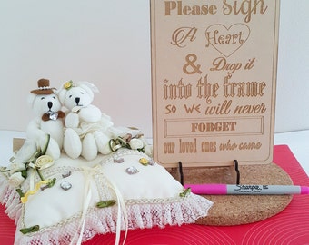Laser Engraved Sign for Wooden Wedding Drop Box Guest Book, stand, marker