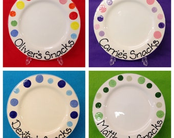 Personalised Spotty Plate - pink and purple