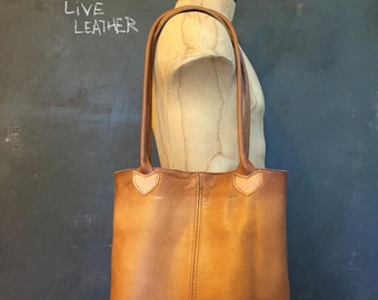 brown upcycled leather tote bag