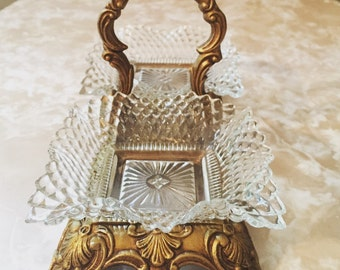 Vintage Glass Candy Dish/Decorative Tray/Jewelry Holder