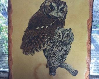 Vintage Wooden Owl Plaque