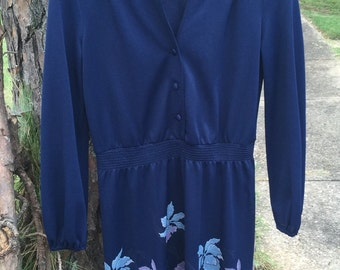 Navy blue 1970's floral vintage secretary dress, Medium/Large