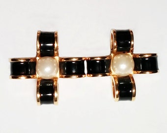 Vintage Chanel Earrings: Black and Gold tone Enamel Ribbon Cross with Pearl Centre