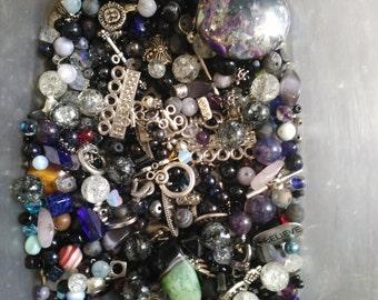Lot of loose gem stone, metal & glass beads