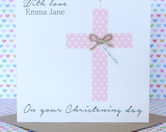 Beautiful Personalised Handmade Girl or Boy Christening Card