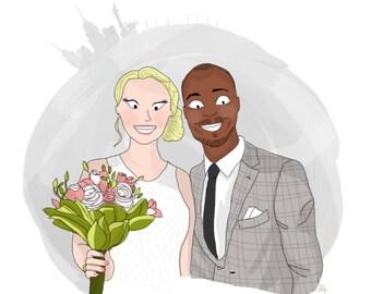 Portrait illustré personnalisé I Couple, bromance, mariage, bestfriend