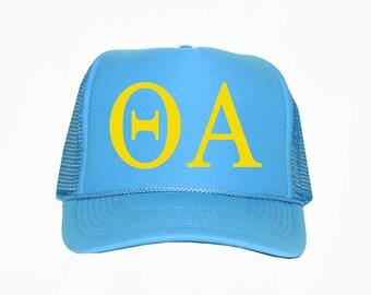 Theta Alpha Trucker Hat, Theta Alpha Sorority Trucker Hat, Greek Letter Glitter Trucker Hat, Greek Sorority hat, Theta alpha greek apparel