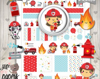 Firefighter Stickers, Planner Stickers, Kawaii Stickers, Planner Accessories, Fire, Proffesion, Team, Fire Stickers, Digital Stickers