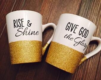 Rise & Shine, Give God the Glory Coffee Mug Set