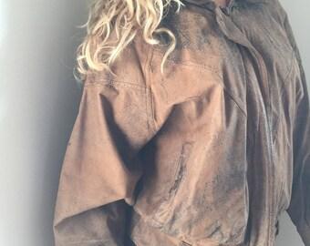 Vintage Distress Leather Bomber Jacket