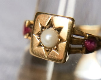 Victorian 15ct Gold Pearl and Ruby Ring