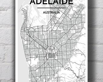 Black & White Adelaide City Map Print