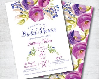 Purple Bridal Shower Invitation, Floral Bridal Shower Invitation, Bridal Shower Invitation Printable, Boho Bridal Shower Invitation