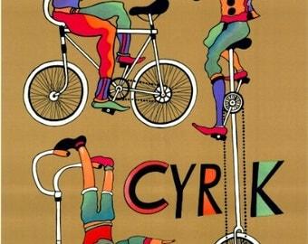 Polish Circus Poster - Marian Stachurski great Artwork ! Original poster from 1979