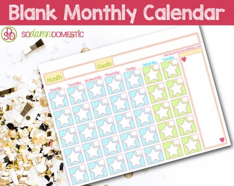 Blank Monthly Calendar - Printable Planner
