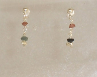 pair of earrings in 925 and tourmaline