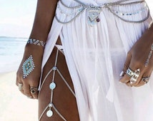 Thigh chain jewelry statement Unique accessory Turkish coin body jewelry club wear silver leg chain bohemian fashion accessory