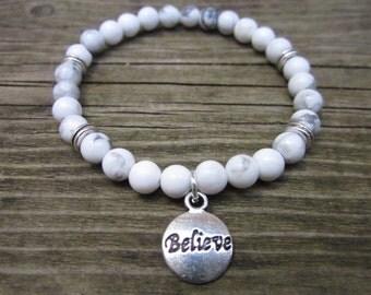 howlite hand made bracelet charms believe, meditation.