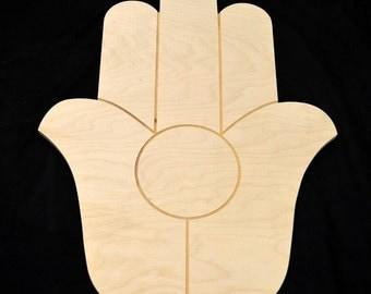 HAMSA Hand of Fatima shape Natural Craft Wood Cutout