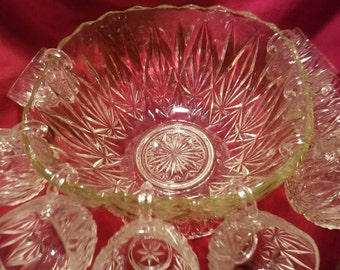 Vintage Williamsport Punch Bowl with Stand and cups ~  Hazel Atlas ~ Circa 1940 ~ invert stand for matching Bowl