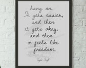 hang on, it get easier, and then it gets ok inspirational words, teen wall decor, TAYLOR SWIFT quote, printed Wall Art home  poster Printed