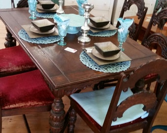 SOLD! ** NLA! ** SOLD!  **  chalk painted furniture, custom painted furniture, Jacobean dining set, dining table, dining chairs,