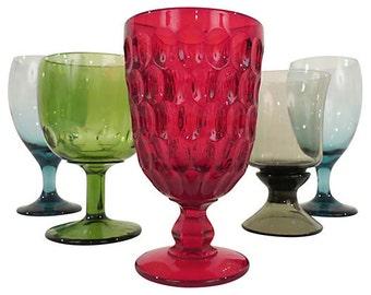 Vintage Mismatched Goblets, Mismatched Stemware,  Mismatched Jewel-Tone Goblets, Mismatched Glassware, Set of 6