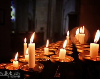 Candles in a Cathedral in Münster, Germany, Church Photography European Photography German Art Light Home Decor Wall Art Church Ministry