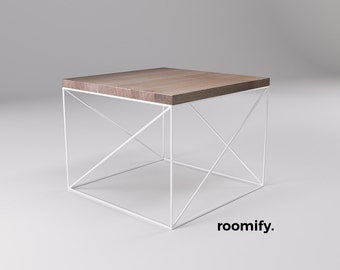 roomify side table MUNIO White 55 x 55 cm oak - LOFT minimal design industrial