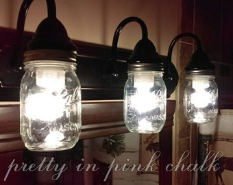 Bathroom Vanity Mason Jar Light light fixtures | etsy