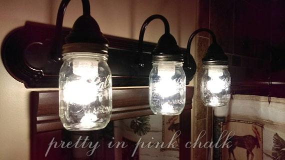 Mason jar 3 light fixtureperfect for your bathroom vanity - Mason jar bathroom light fixture ...