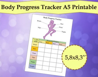 Body Tracker, Measurement Tracker A5 Planner Printable, Weight Loss Tracker, PDF, A5 Inserts Fitness, Planner 2017, Instant Download