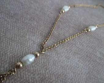Vintage Gold and Freshwater Pearl Lariat Y Necklace