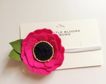 Felt flower alligator clip or headband - Fuchsia Pink Poppy with gold and black center and green leaves