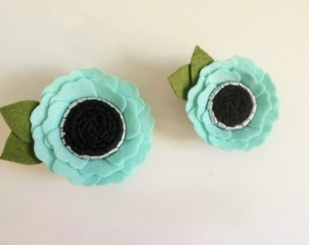 Felt flower alligator clip - headband - set of two icy blue poppies - one mini, one standard size with silver, black centers & green leaves