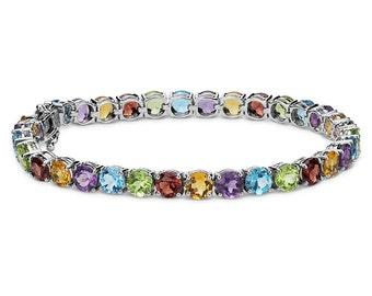16.62Ct Natural Gemstone Garnet Amethyst Citrine Peridot Topaz Silver Bracelet