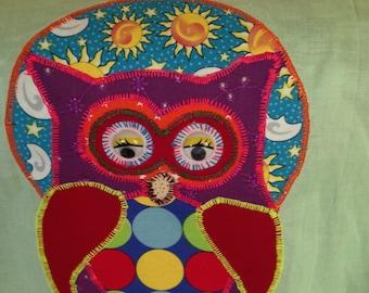 Ladies owl appliqued reversible apron