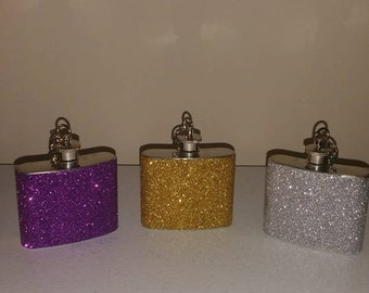 2oz Glitter Key Chain Flask