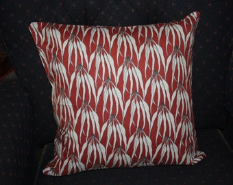 Cushion gumleaves on red/brown